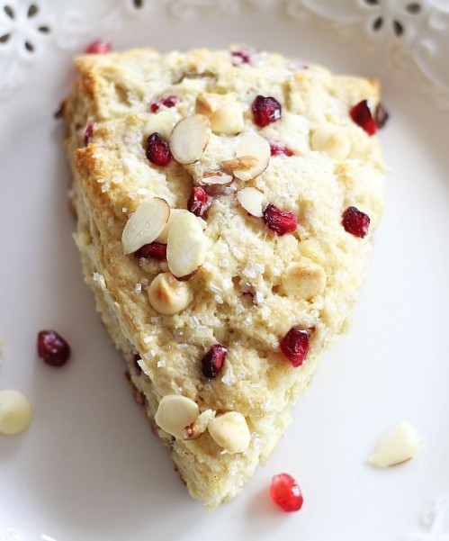 pomegranate seed white chocolate almond scones 18
