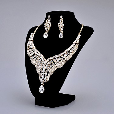 rhinestone-studded-earrings-and-necklace-set-in-white-with-golden-alloy