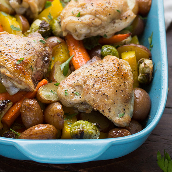 one pan miso-honey chicken with vegetables