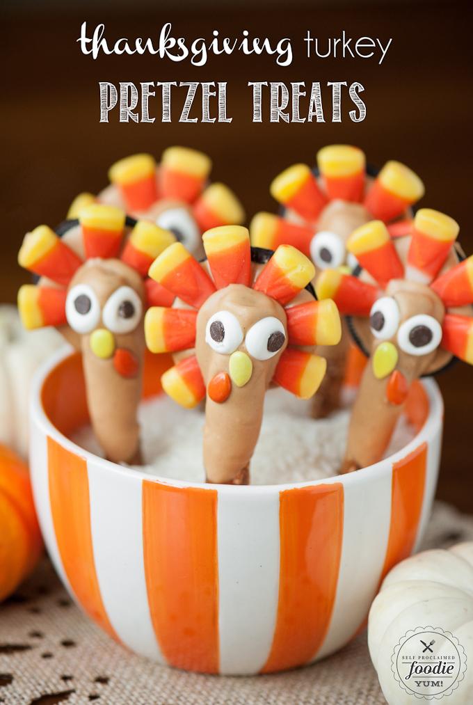 thanksgiving turkey pretzel treats