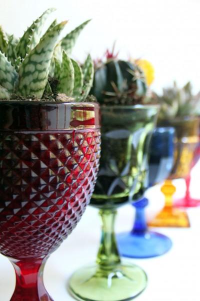 vintage goblet planters