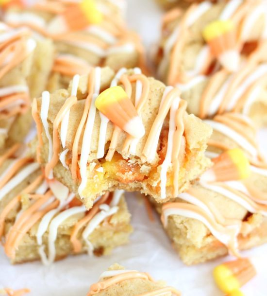 white chocolate candy corn blondies