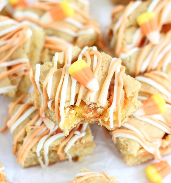 white chocolate candy corn blondies 15